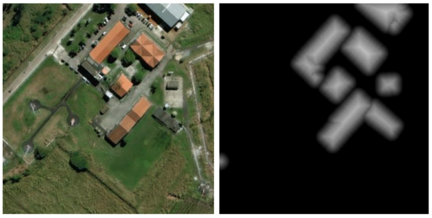 Figure 7: Semantic building footprint segmentation training image (left) and corresponding signed distance label image (right).