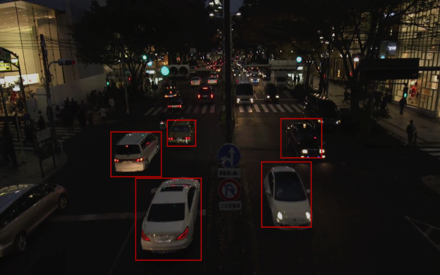 Figure 6: Modified GoogleNet network included with Jetson Multimedia SDK detects bounding boxes of cars in full-motion video.