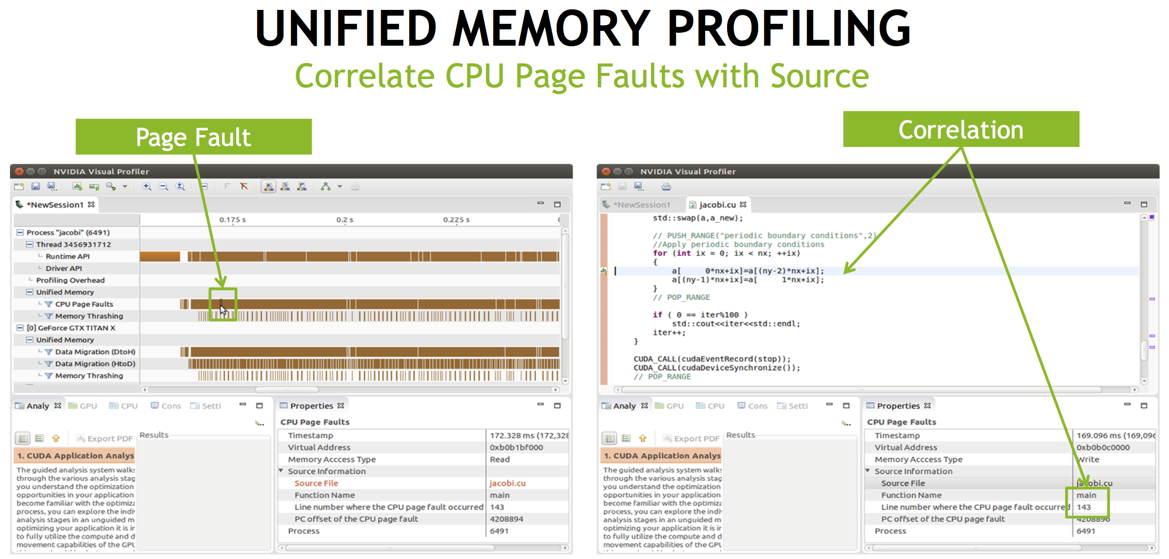 Figure 5: The NVIDIA Visual Profiler can now show you the exact lines where CPU faults occur on Unified Memory pages.