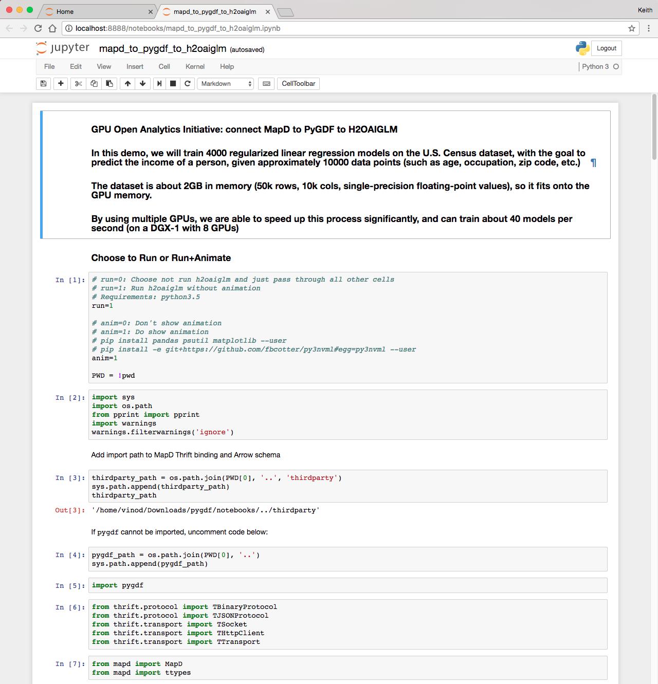 Figure 3: The GPU Open Analytics Initiative (GOAI) demo Python notebook running in a browser.