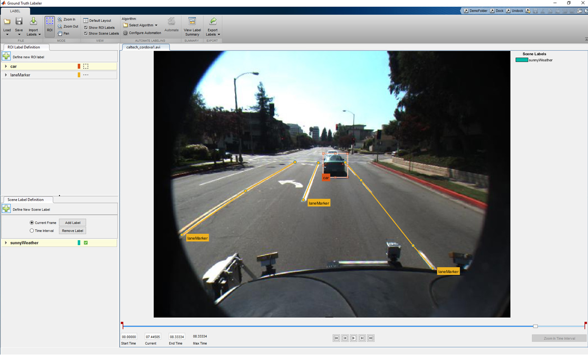 Figure 4. Screen shot of Ground Truth Labeler app designed to label video and image data.