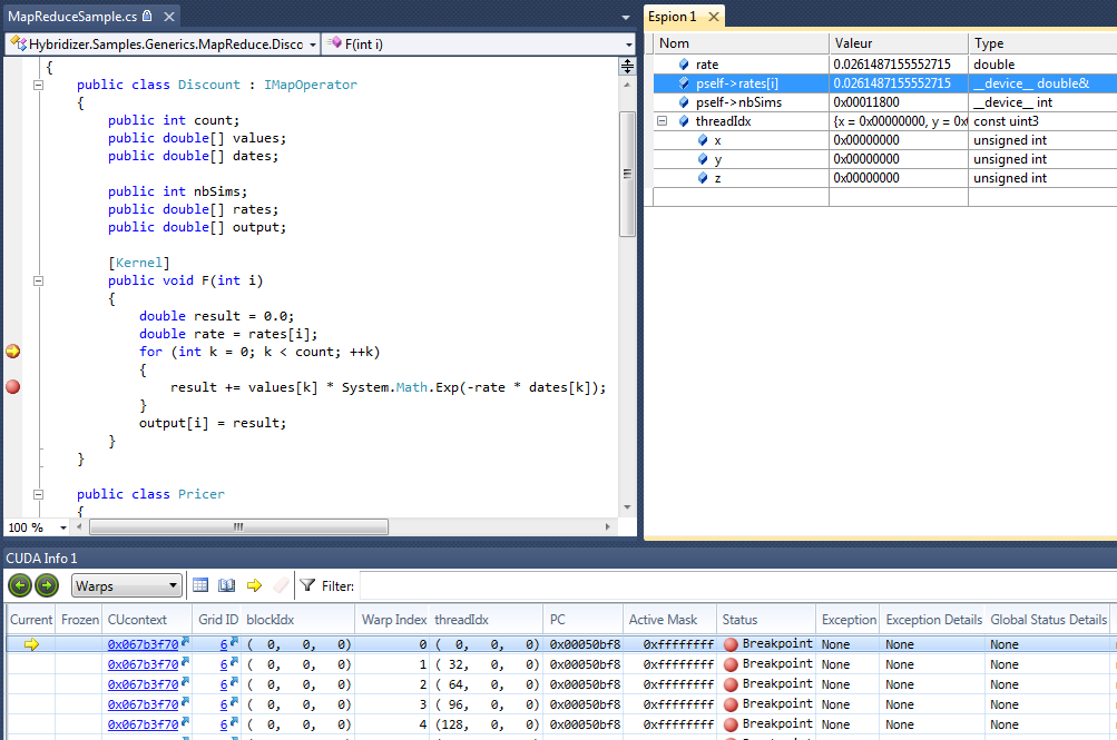 Figure 2: Debugging C# code running on the GPU with Hybridizer and NVIDIA Nsight Visual Studio Edition.