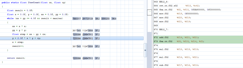 Figure 3. Profiling Mandelbrot C# code in the CUDA source view.