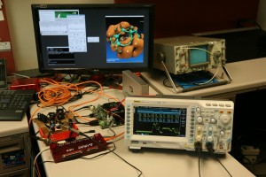 A CUDA on ARM development board running VMD, with power usage displayed on an oscilloscope
