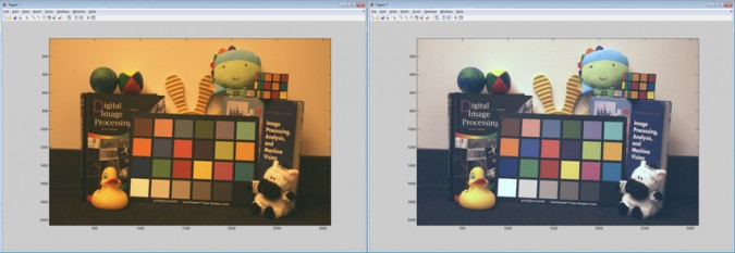 Figure 1. Our sample image before (left) and after (right) white balance adjustment.