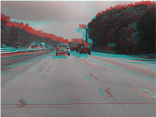 Figure 1: Color composite of frames from a video feature tracking example. (Frame A = red, frame B = cyan)