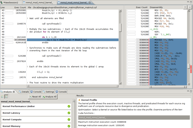 CUDA 6.5 Adds support for CUDA Fortran code in CUDA debugging and profiling tools such as NSight Eclipse Edition.