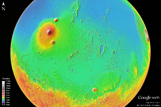 Figure 1: A view of Mars centered on Elysium Planitia, which includes some of the youngest volcanic terrains on the planet. Performing a systematic regional survey of sub-kilometer-scale landforms, such as volcanic rootless cones, would be prohibitively time consuming using manual methods, but is ideal for Machine Learning algorithms such as Convolutional Neural Networks (CNNs).