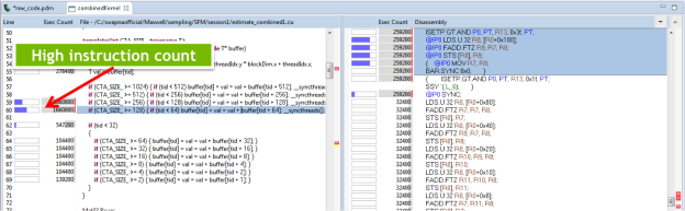 Figure 3: CUDA 6 added support for detailed profiling, showing the correspondence between source lines and assembly code, and the number of instructions executed for each source line.