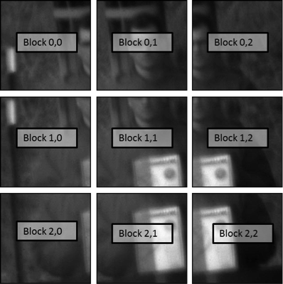 Figure 5: A representative image divided into tiles, each to be processed and reassembled into a final image. For efficient GPU processing, each tile contains redundant information from its neighbor so they can all be processed independently.