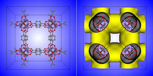 Figure 2: A nanoporous material can be abstracted as a raveled-up surface. On the left is the unit cell of the IRMOF-1 crystal structure. On the right is a depiction of the surface that IRMOF-1 forms.