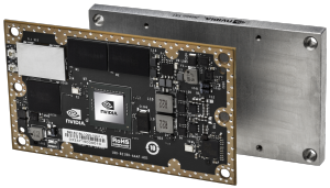 Figure 1. The 50x87mm embedded Jetson TX1 module and thermal plate, featuring integrated Maxwell GPU, ARMv8 CPU, and H.265 video processor.
