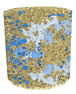 Figure 1: Complex 3D microstructure showing fluid ganglia within a sandstone sample imaged using x-ray micro-tomography. The connected components of the oil phase are shown in various shades of blue.