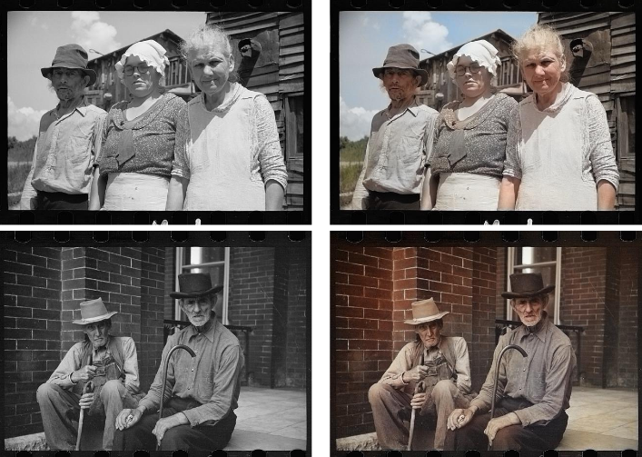 Historical black and white images that are hard to differentiate from real color images.
