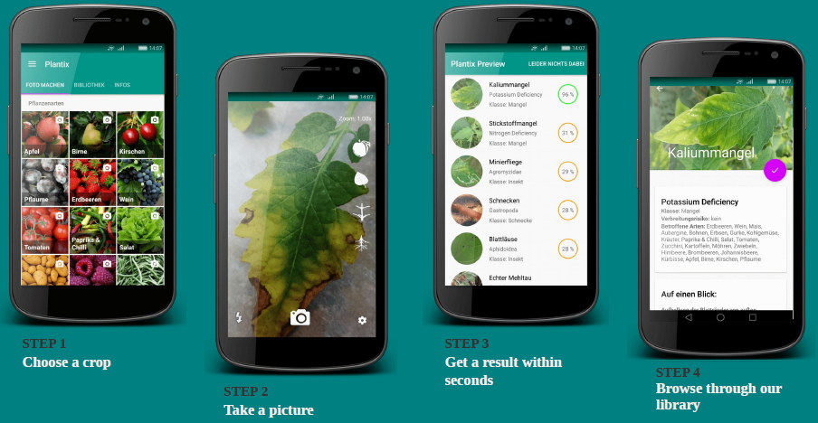 EAT's Plantix app provides detailed symptom descriptions to empower farmers to take autonomous decisions on their disease management.