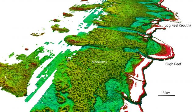 North-westerly view of the Bligh Reef area off Cape York. Depths are colored red (shallow) to blue (deep), over a depth range of about 50 meters. Bathymetry data from Australian Hydrographic Service.