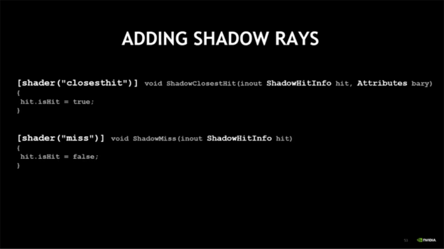 Shadow ray code examples