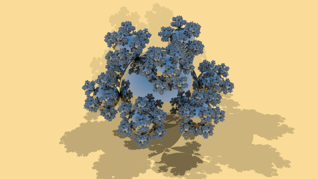 sphereflake default showing shadows from three light sources