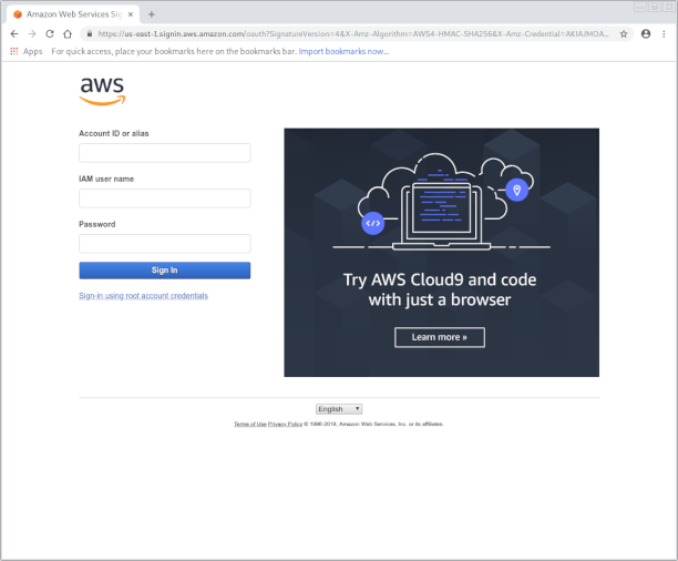 Amazon Web Portal sign in page screenshot