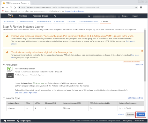 Review instance launch screenshot
