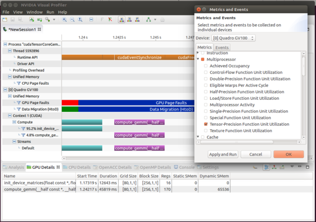 Setting up applications profiling screenshot