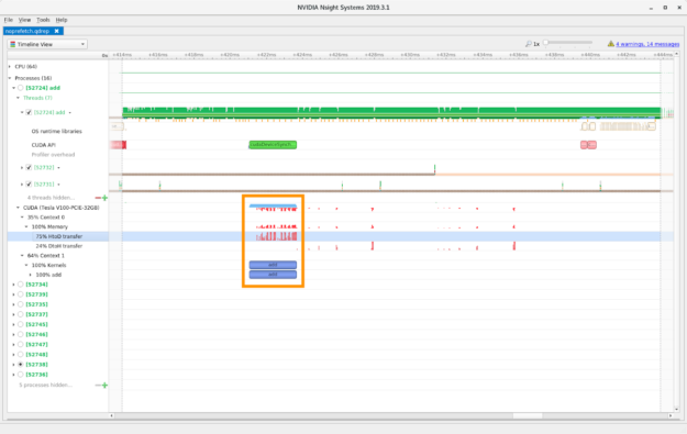 Nsight Systems timeline, prefetching disabled screenshot