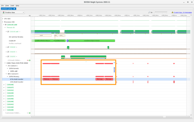 Nsight Systems timeline view, prefetching enabled screenshot