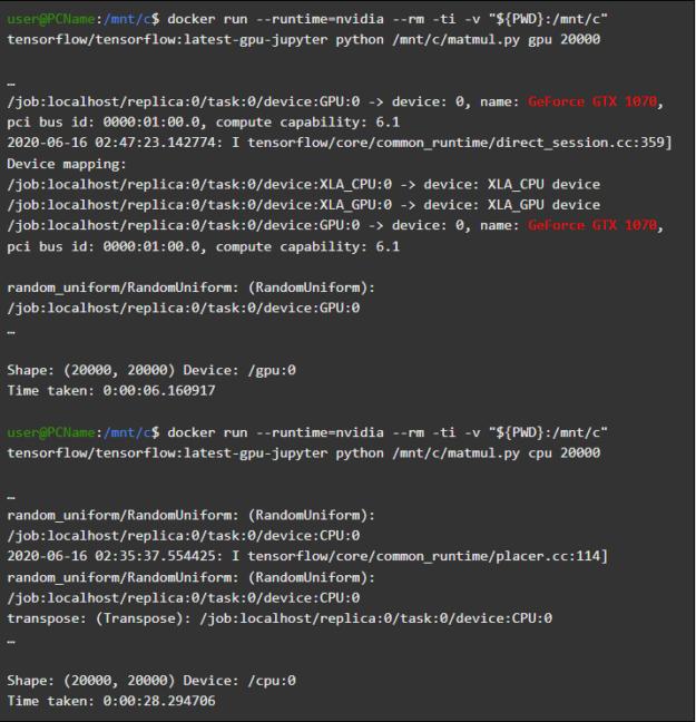 "Results of running docker run --runtime=nvidia --rm -ti -v ""${PWD}:/mnt/c"" tensorflow/tensorflow:latest-gpu-jupyter python /mnt/c/matmul.py gpu 20000"