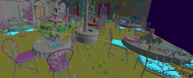 A screen shot from the San Miguel scene showing a garden with several tables, chairs, and trees. Leaves have been scattered around the scene.