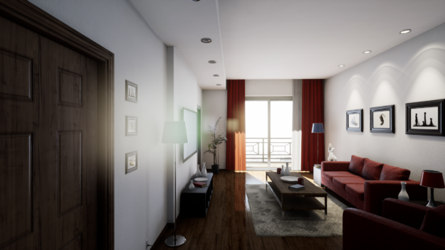 Realistic apartment scene with light streaming through a sliding door and casting shadows in the scene.