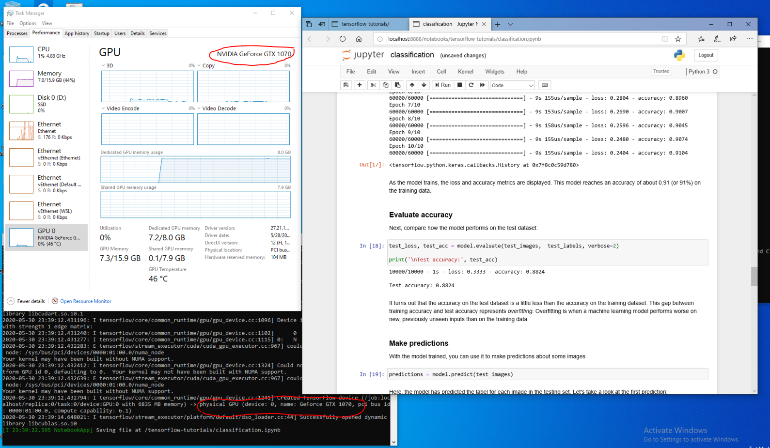 The screenshot from the host system shows GPU node activities on the Performance tab of the Windows Task Manager tool while running a TensorFlow workload in the GPU-accelerated WSL 2 container. The picture includes the Task Manager window, WSL 2 container log, and Edge browser running the Jupyter notebook tutorial.