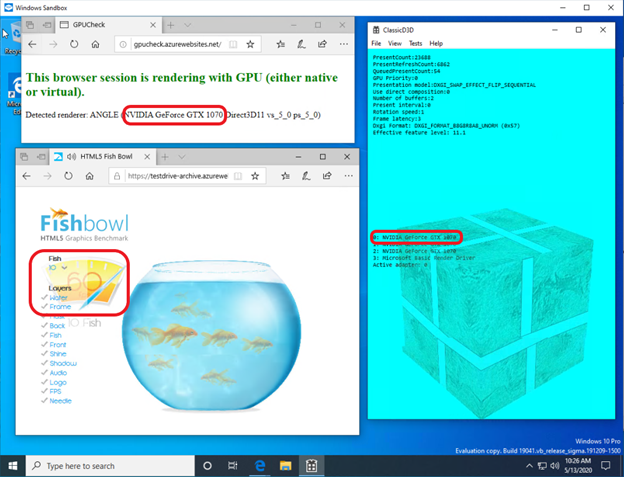 The picture shows two instances of the Edge browser running inside a GPU-accelerated Hyper-V VM of the Windows Sandbox app as well as an instance of the sample DirectX app (ClassicD3D). Real GPU used for the acceleration is highlighted in the running virtualized app outputs.