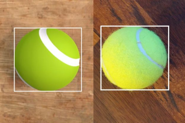 A tennis ball on a wood surface: simulated environment on the left and real-image photograph on the right, with object detection bounding boxes around both.