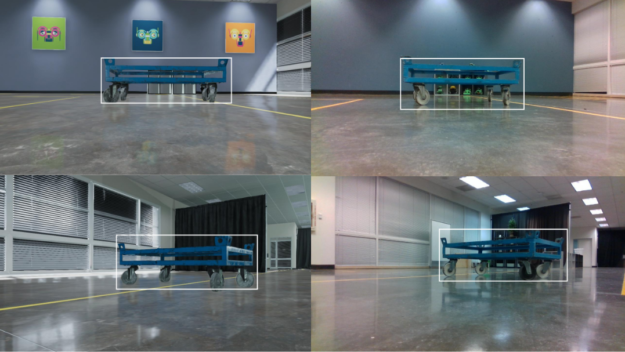 Side by side images of real and simulated image pairs of industrial carts in Nvidia's robotics testing space. Overlaid bounding boxes are inferred from models fine-tuned on synthetic data only.