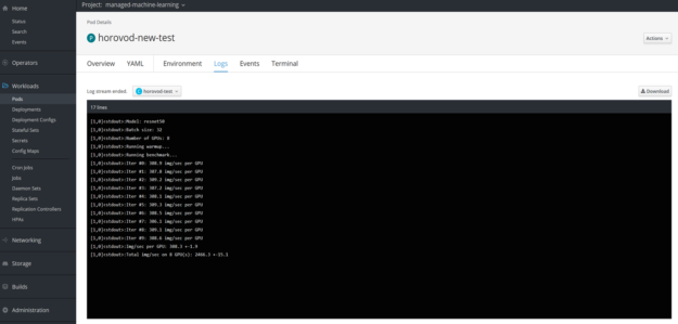 This figure shows a command-line window accessing the logs of a pod using the OpenShift dashboard.