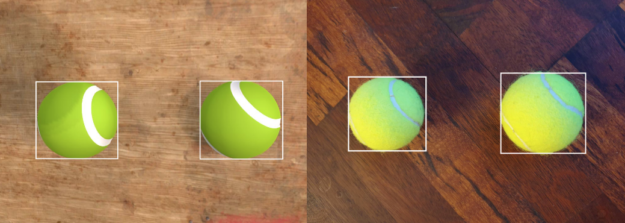 Side by side images of real and simulated image pairs of tennis balls. Overlaid bounding boxes are inferred from models fine-tuned on synthetic data only.