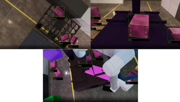 Multiple training environments with overlaid ground truth bounding boxes for industrial box detection.