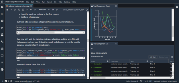 Use an IDE for ML development. For example, make updates to models inside a notebook and see how changes impact model quality using a side-by-side view of your notebook and training experiments.