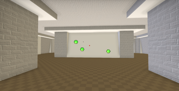 A player aiming in between three green targets in our experimental FPS game called First Person Science.