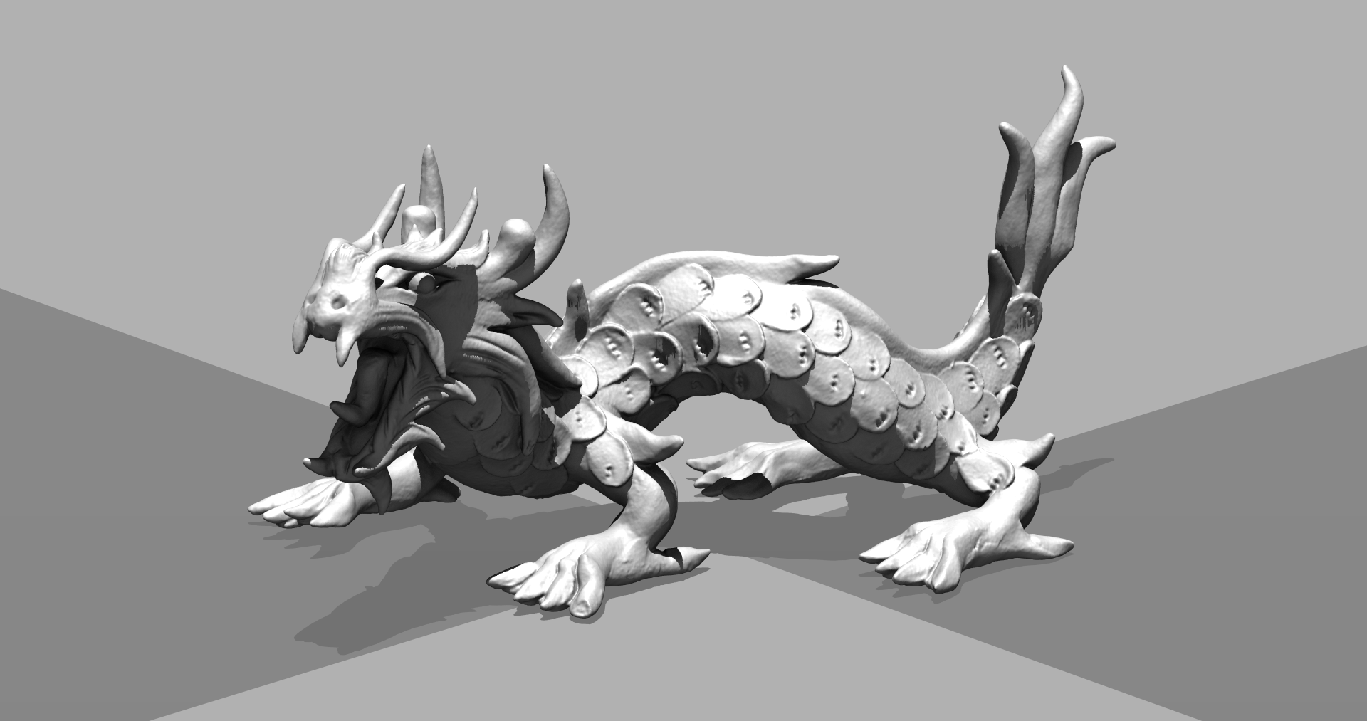 The dragon.vdb dataset rendered on the GPU as a levelset.