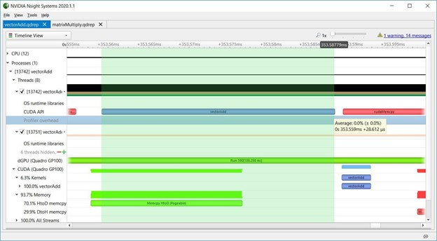 Screenshot of Nsight Systems showing a wide green vertical bar across the entire duration of executing a CUDA kernel on the CPU side.