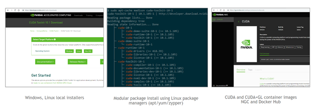 Image showing Windows and Linux local installers, modular package installation using Linux package managers and CUDA container images (available on NGC and Docker Hub).