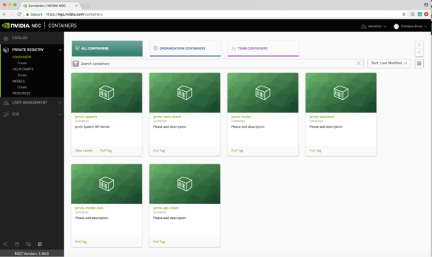 With the NGC Private Registry, you can store your custom-built containers, models, and Helm charts. You can also create users, assign them to teams, and foster sharing content across an enterprise.