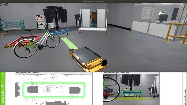 Top: Factory of future scene in Isaac Sim Unity3D where BMW STR arrives at the cart pickup point along with the path planned in the green bar. Bottom right: BMW-STR camera's point view along with the detected 2D bounding box (in blue) of the cart and 3D bounding box (in green) with the estimated 3D pose of the industrial cart. Bottom left: Map view of the factory of future scene with drivable path of STR in green and STR location in blue
