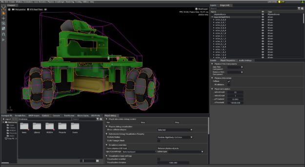 Screenshot of Omniverse Isaac Sim showing the PhysX configuration of an imported NVIDIA Kaya robot.