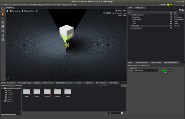 Screenshot of Omniverse Isaac Sim showing a simulated LIDAR detecting distance from a box.