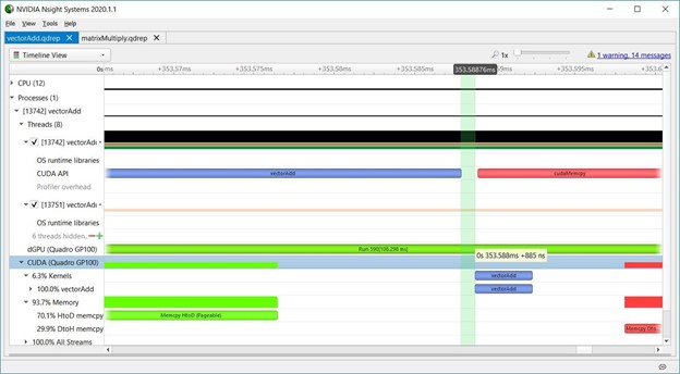 Screenshot from Nsight Systems showing the small, microsecond gaps that indicate profiling overhead from the tool.