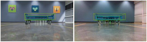 Inference of industrial cart pose estimation on identical simulated images from BMW STR's perspective, demonstrating the sim-to-real transfer of the object detection and pose estimation models in Isaac SDK.