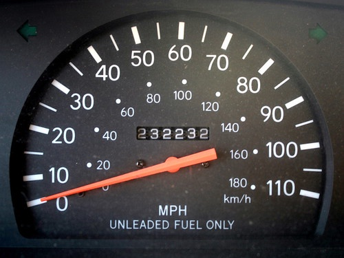 Image of a speedometer, needle firmly fixed at zero.