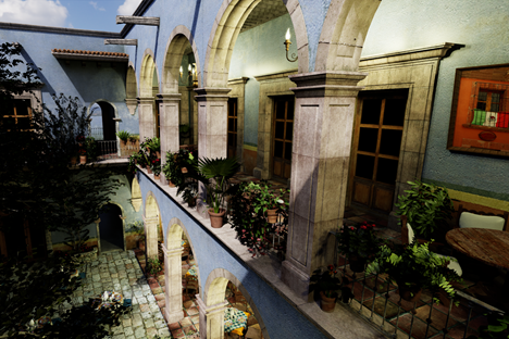 A beautiful, real-time rendering of the complex San Miguel scene with complex dynamic lighting.